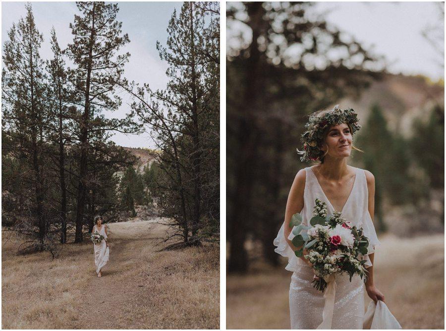 bride walking through trees oregon elopement and wedding photographer kyle szeto