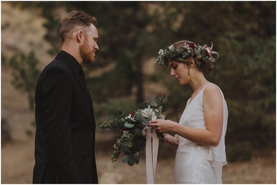 bride reading her vows oregon elopement and wedding photographer kyle szeto