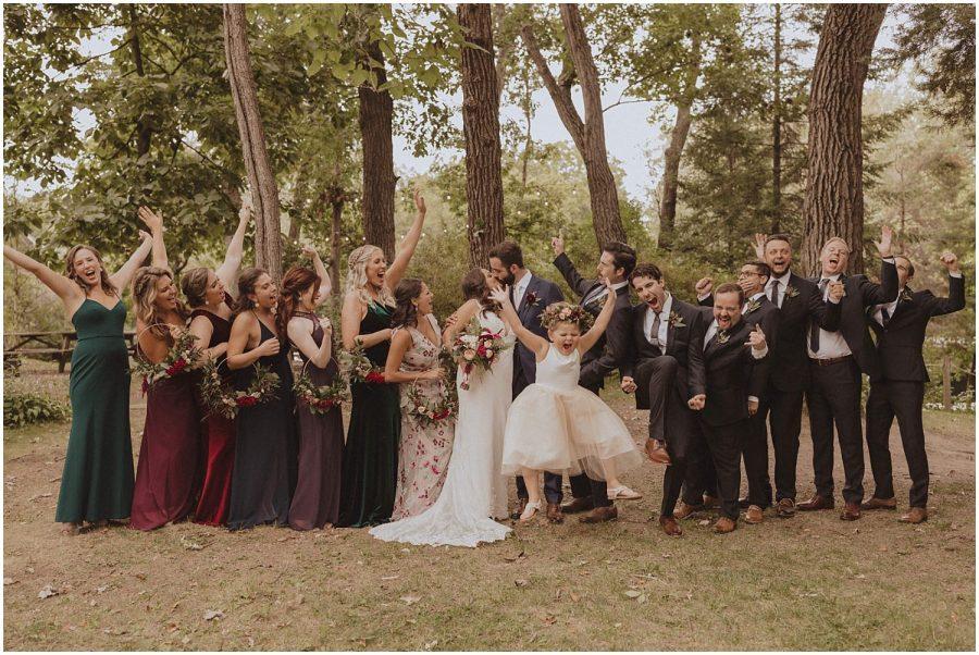 bridal party going crazy wisconsin wedding elopement photographer kyle szeto