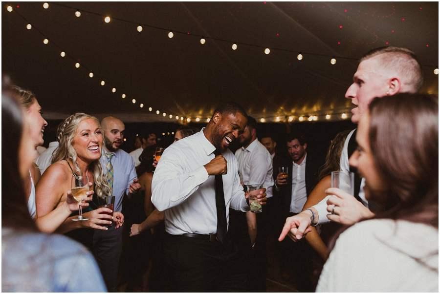 guests dancing camp wandawega wedding reception wisconsin wedding elopement photographer kyle szeto