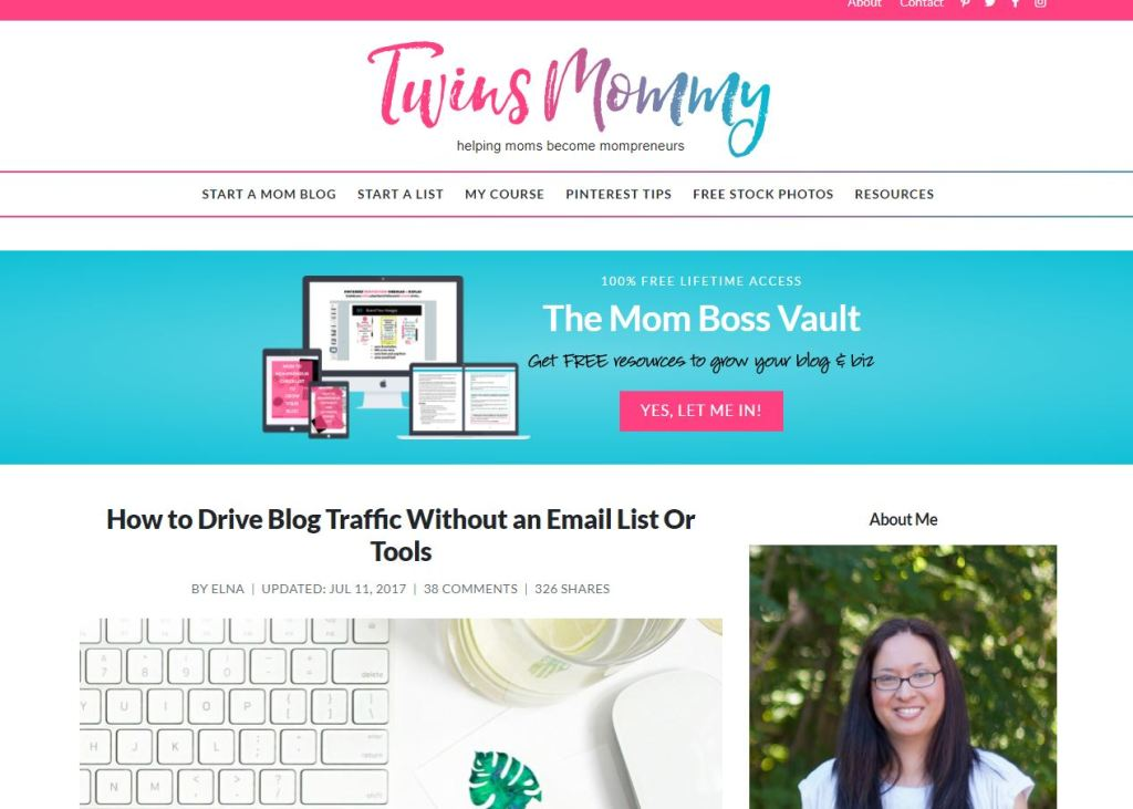 The Twins Mommy Blog by Elna Cain is an awesome tool for newbie bloggers just getting started in the biz.