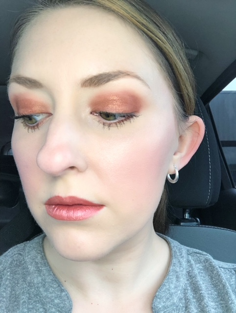 Playful look featuring all natural makeup products from The Beauty Crop. Mascara: Fabulous Flocking Lashes. Blush Duo: Fig It. Highlighter: Glow Milk. Eyeshadow: Shimmer golden brown shades from Espresso Yourself Eyeshadow Palette. Lips: GRLPWR Matte Metallic Liquid Lipstick in shade Rojito.