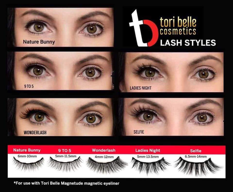 different lash style that Tori Belle Cosmetics carries with Magnetic eyeliner and lashes