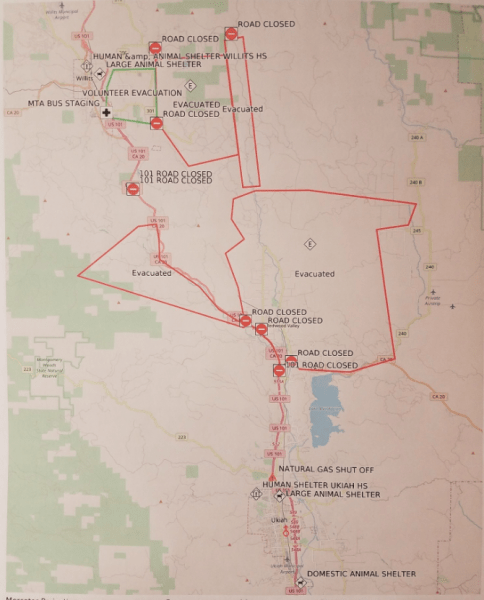 Evacuation Information  Including Map  for the Redwood Complex in     Map of the Redwood Complex evacuations from the Mendocino Sheriff