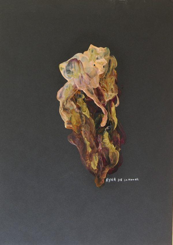 La bête, peinture abstraite, Kyna de Schouël artiste peintre