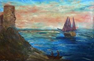Le pirate des mers, Kyna de Schouël artiste peintre