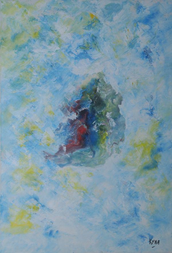 Le nid, peinture abstraite, Kyna de Schouël artiste peintre