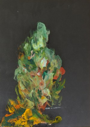 Pensée verte, peinture abstraite, Kyna de Schouël artiste peintre