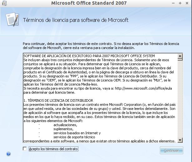 Instalar Office 2007 en Lubuntu 12.10 (2/6)