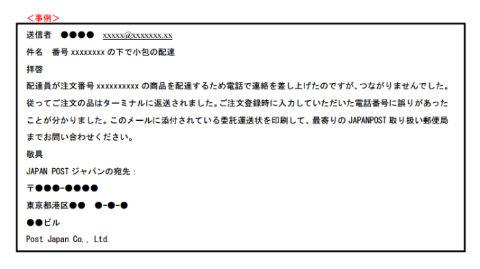 日本郵政 不審メール 画像
