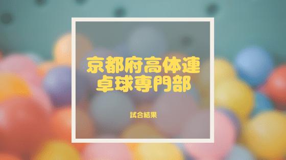 【高体連】春季卓球選手権大会(府2次予選)シングルス トーナメント結果