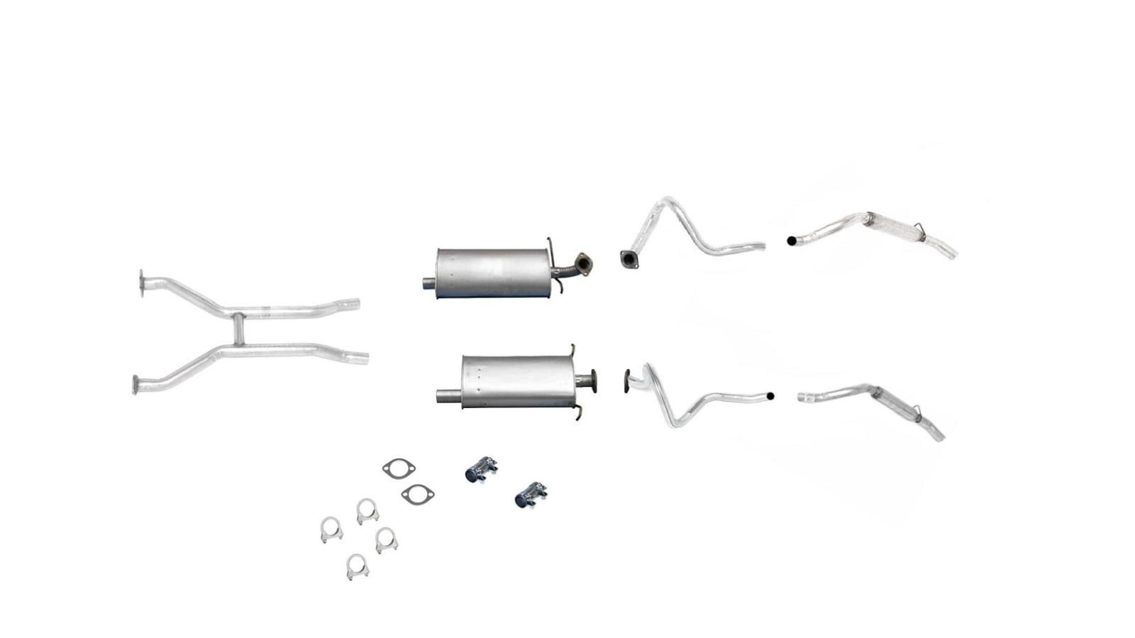 Front H Pipe Dual Mufflers And Dual Tail Pipes For
