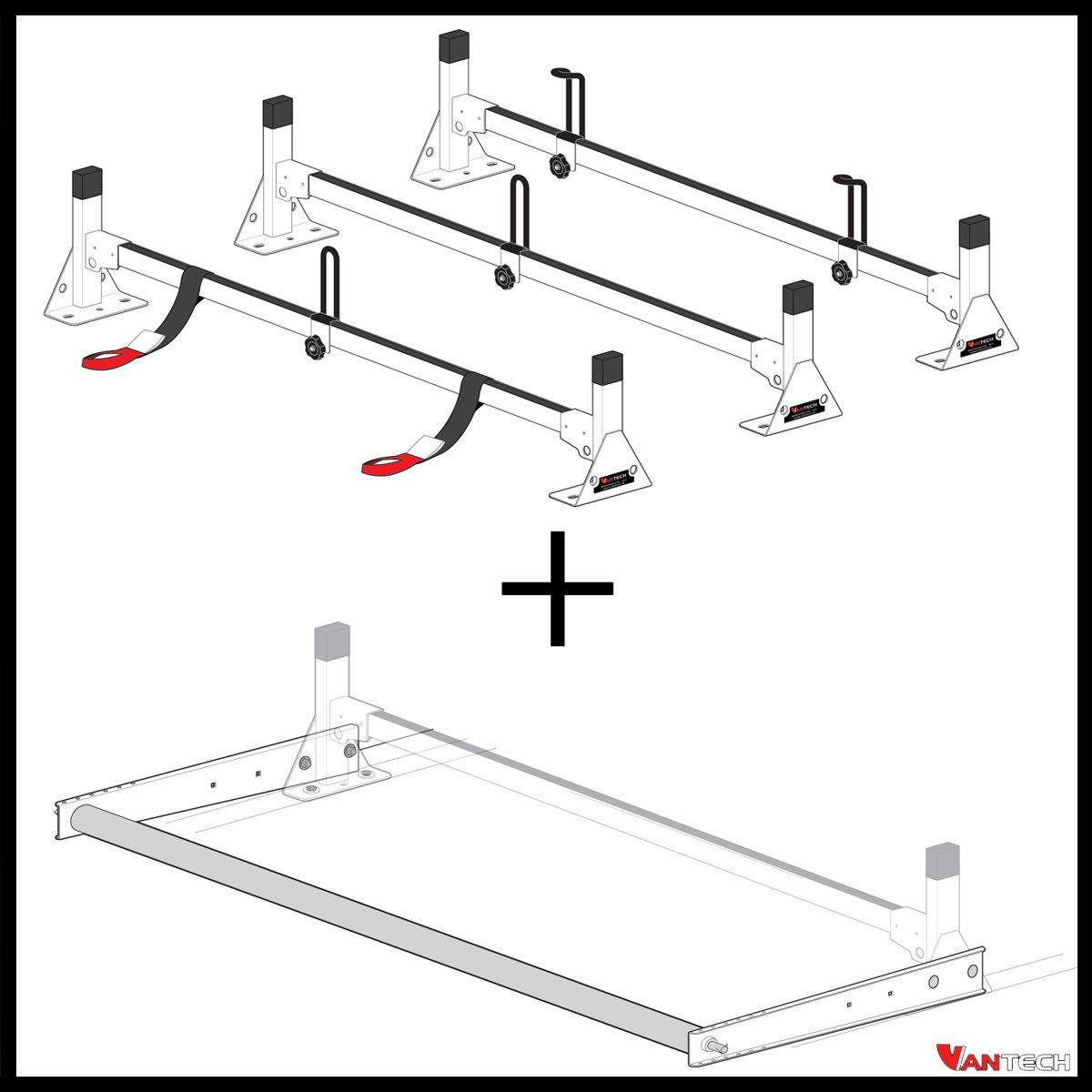 vantech 3 bar black aluminum ladder