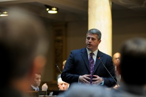 Senate Democratic Floor Leader Ray Jones, D-Pikeville, discusses the Eastern Kentucky economy during a floor speech in the Kentucky Senate.