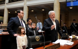 Senator Perry B. Clark on Feb. 23 recognized veteran Kyle Lankford and his family today on the floor of the Senate for his outstanding service to our country and veterans.