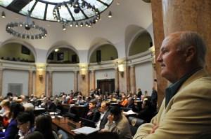 Sen. Johnny Ray Turner, D-Prestonsburg, observes proceedings in the Kentucky House of Representatives.