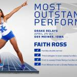 UK Track & Field's Faith Ross Named Drake Relays Most Outstanding Performer