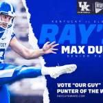UK Football's Max Duffy Earns Ray Guy Award Weekly Honors