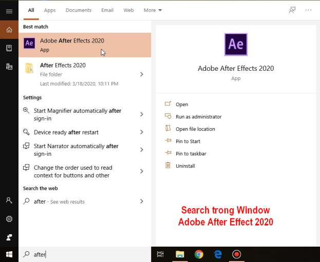 Mở phần mềm Adobe After Effects 2020