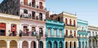 A colorful strip of buildings in Havana, Cuba.