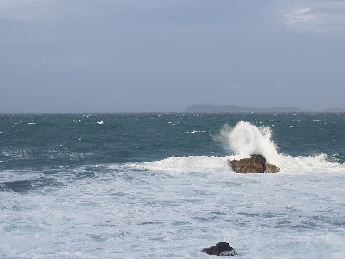 台風の影響で爆風の志賀島漁港。そこに一人の釣り人が。