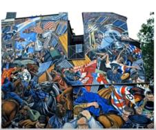 К 80-м годам ХХ-го века появляются огромные росписи, которые поражают воображение и тогда, и сегодня. Эту работу делали 4 года! Она находится недалеко от лондонского Сити.