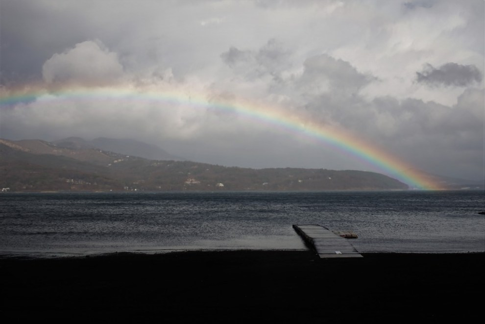 山中湖の虹