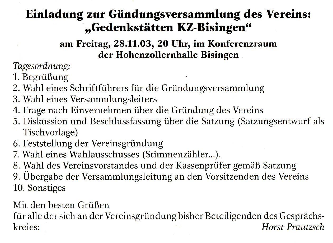 Anzeige Horst Vereinsgründ