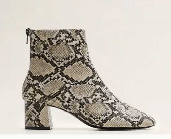 mango snake effect ankle boots