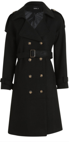 boohoo wool look belted trench