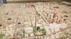 Une grande maquette de la ville dans le hall d'entrée de l'Hôtel de Ville de Toronto. (Photo: Nathalie Prézeau)