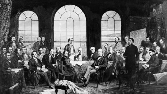 Réunis à Québec, les dirigeants de l'Ontario, du Québec, du Nouveau-Brunswick et de la Nouvelle-Écosse se dotent d'un gouvernement fédéral en signant l'Acte de l'Amérique du Nord britannique qui entrera en vigueur le 1er juillet 1867.