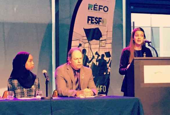 Koubra Haggar de la FESFO, Carol Jolin de l'AFO et Geneviève Borris du RÉFO. (Photo: REFO)