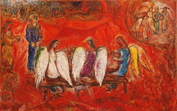 Marc Chagall: Abraham et les trois anges. 1960-66, huile sur toile,190 x 292 cm. Musées nationaux des Alpes Maritimes, Nice, France.