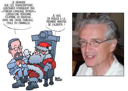 Notre chroniqueur Gérard Lévesque sur les genoux du Père Noël: un dessin de Michel Lavigne.