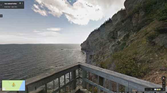 Le parc Forillon (en Gaspésie) dans Google Street View.