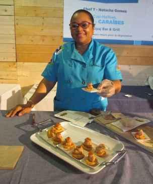 Natacha Gomez, chef traiteur de Cap Haïtien, au Marché des saveurs.