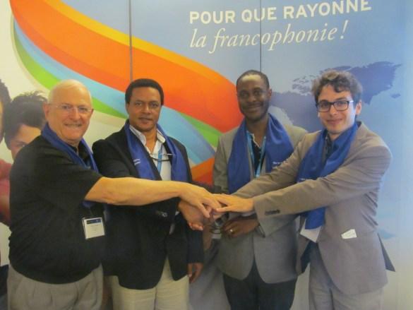 Collaboration pour du tourisme durable: Pierre Tessier (RDEE Ontario), Rudolf Dérose (RENAPROTS), Romaric Segla, (IFDD), Étienne Leblanc Lavoie (IFDD).