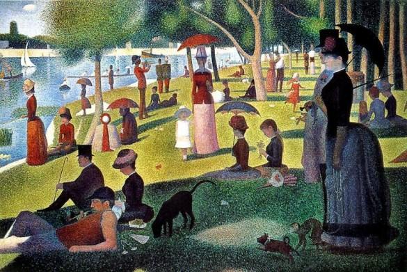 Un dimanche après-midi à l'île de la Grande Jatte (1884-86), huile sur toile, 207,6 x 308 cm, Institut d'art de Chicago, É.-U.