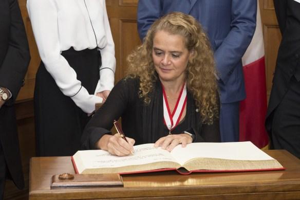 Julie Payette devient gouverneure générale le 2 octobre 2017. (Photo: Sgt Johanie Maheu, Rideau Hall)