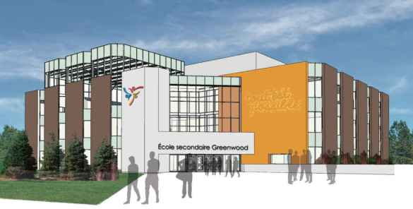 L'entrée de la future école secondaire de Viamonde dans l'Est de Toronto, si ses voeux sont exaucés par le ministère de l'Éducation et le TDSB.