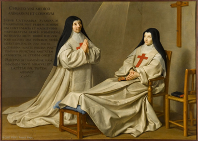 Philippe de Champaigne, La Mère Catherine-Agnès Arnault et la sœur Catherine de Sainte Suzanne de Champaigne, 1666. Internet et p.101.