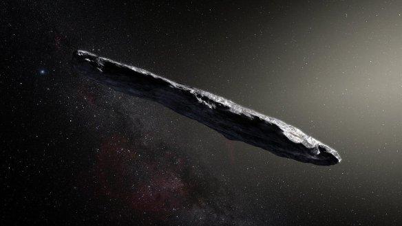 Représentation d'artiste de l'astéroïde Oumuamua. (Photo: ESO / M. Kornmesser)