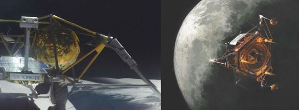Arrivée imaginée dans l'orbite de la Lune et déploiement du robot de la mission gagnante du Google Lunar Xprize.