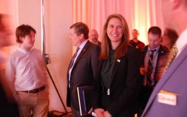 Le maire John Tory et la ministre Caroline Mulroney.