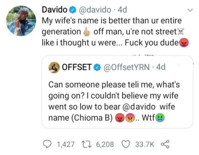 Davido clashe le mari de Cardi B à cause de Chioma