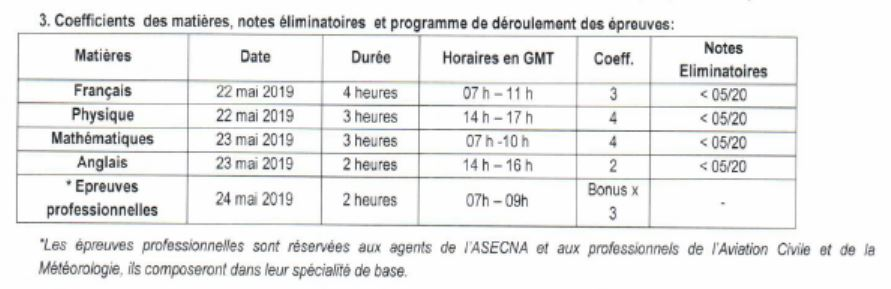 Togo, ASECNA, concours, 2019, EAMAC