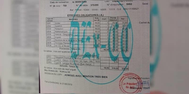 Togo BEPC 2019 un élève de Dapaong obtient son diplôme avec 19,94-20 de moyenne