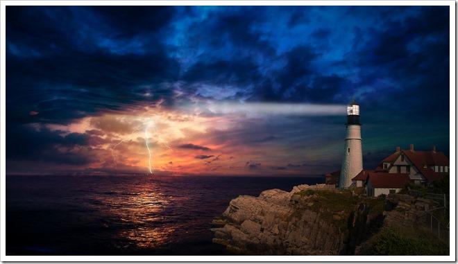 lumière phare orage ciel terre mer Tel un phare, comme une lumière au bout du tunnel