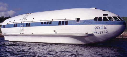 cosmic muffin boat converted from an airplane